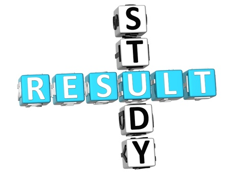 results: 3D Study Result Crossword on white background