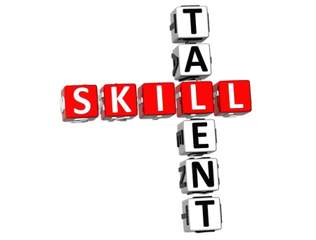 hábil: 3D Skill Talent Crossword on white background