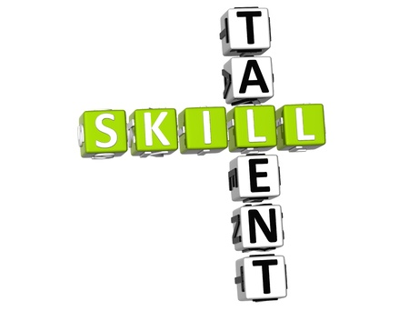 3D Skill Talent Crossword on white background photo