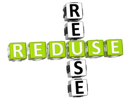 3D Reduse Reuse Crossword on white background photo