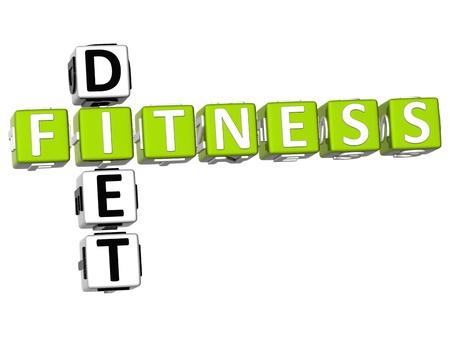 3D Fitness Diet Crossword on white background Stock Photo - 9552131