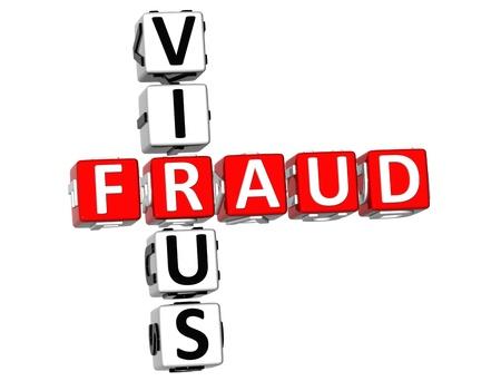 3D Virus Fraud Crossword on white background Stock Photo - 9569768
