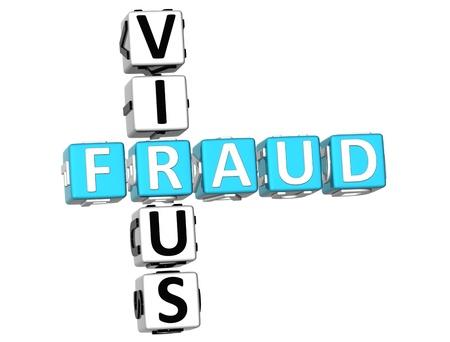 3D Virus Fraud Crossword on white background Stock Photo - 9569767