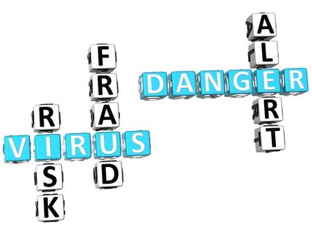 3D Virus Danger Crossword on white background Stock Photo - 9569773