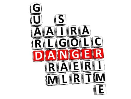 3D Danger Crossword on white background Stock Photo - 9569780