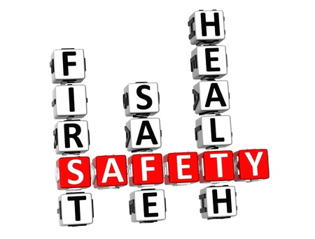 health fair: 3D Safety Crossword on white background Stock Photo