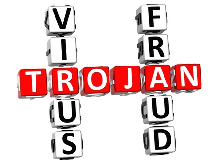 3D Virus Trojan Fraud Crossword on white background Stock Photo - 9569778
