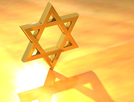 Star of David Gold Sign in yellow background photo