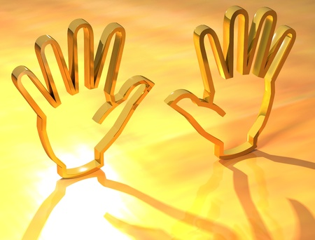 Two hands Gold Sign on yellow background Stock Photo - 9674450