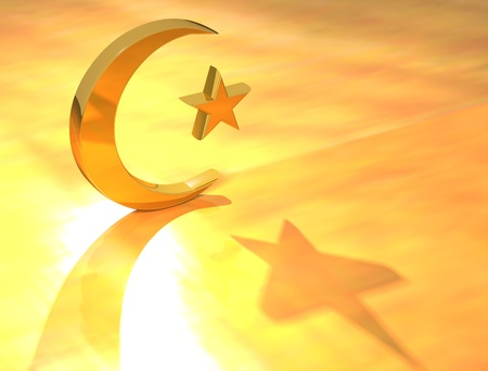 Gold Islam Sign on yellow background Stock Photo - 9674441