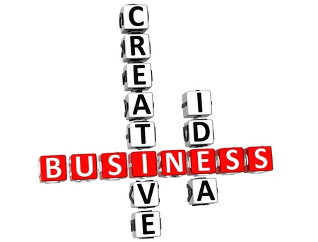 sucess: 3D Business Creative Idea Crossword on white background