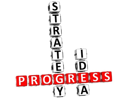 sucess: 3D Progress Strategic Idea Crossword on white background