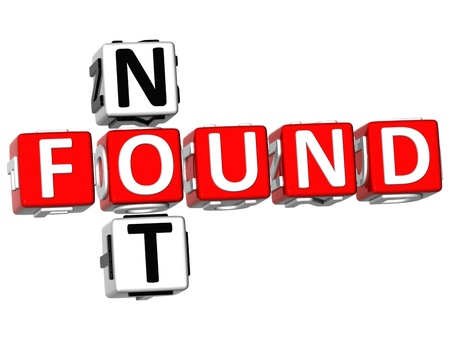 found: 3D Not Found Crossword on white background