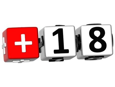 eighteen: 3D Under eighteen in white background Stock Photo