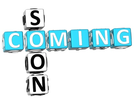 soon: 3D Cooming Soon Crossword on white background