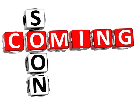 3D Cooming Soon Crossword on white background Stock Photo - 9752123
