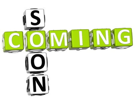coming soon: 3D Cooming Soon Crossword on white background