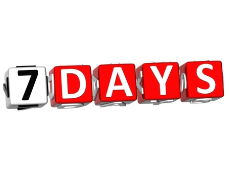 7 8: Seven Days cube text on white background
