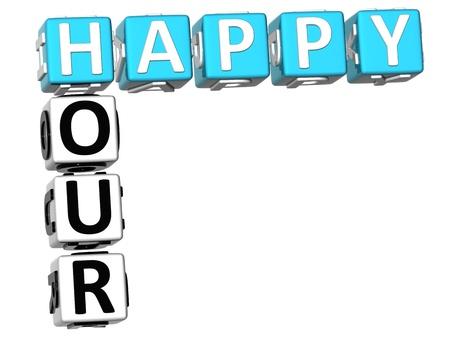 3D Happy Hour Crossword on white background Stock Photo - 9752114