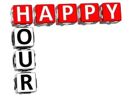 3D Happy Hour Crossword on white background Stock Photo - 9752118