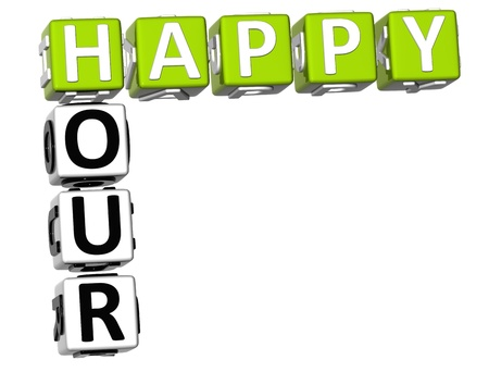 happy hour: 3D Happy Hour Crossword on white background Stock Photo