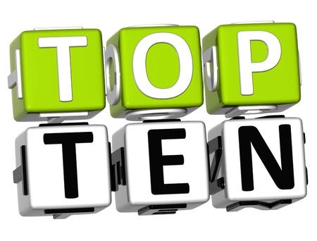 classement: 3D Cube Top Ten texte sur fond blanc Banque d'images