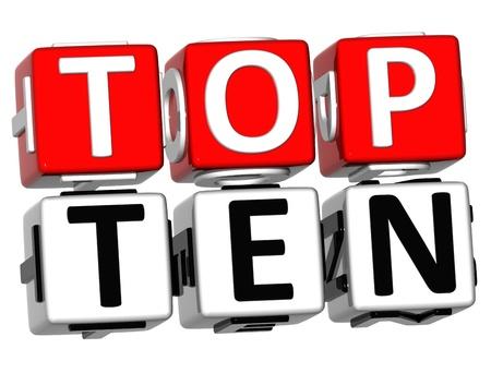 classement: Texte de Top Ten Cube 3D sur fond blanc