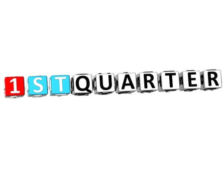 crossword puzzle: 3D 1 St Quarter Cube Text Stock Photo
