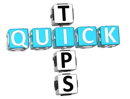 quick: 3D Quick Tips Crossword on white background