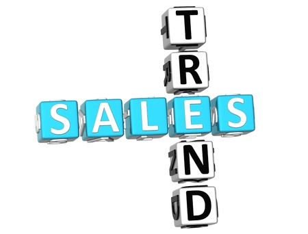 3D Sales Trend Crossword on white background photo