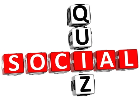 3D Social Quiz Crossword on white background photo