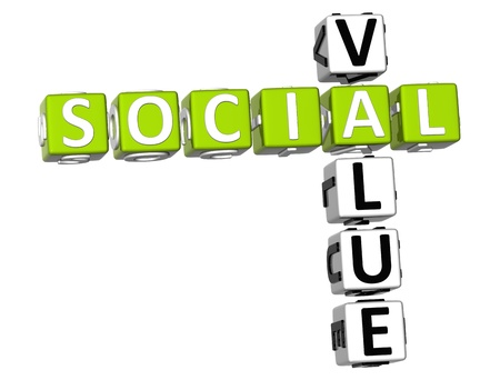 3D Social Value Crossword on white background photo