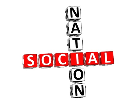 3D Social Nation Crossword on white background photo