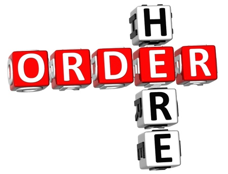 purchase order: 3D Order Here Crossword  on white background Stock Photo