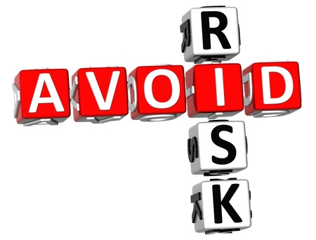 savings risk: 3D Aviod Risk Crossword on white background