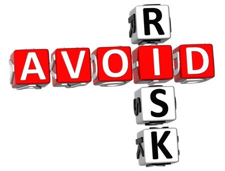 stock market crash: 3D Aviod Risk Crossword on white background
