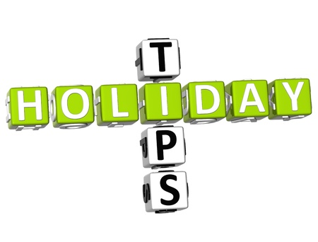 3D Holiday Tips Crossword on white background Stock Photo - 9752231