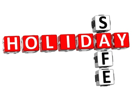 safety box: 3D Holiday Safe Crossword on white background
