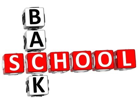 3D Back School Crossword on white background photo