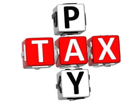 3D Pay Tax Crossword text on white background Stock Photo
