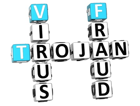 3D Trojan Virus Fraud Crossword on white background Stock Photo - 9753157