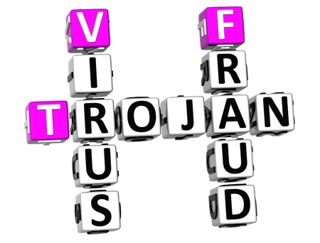 3D Trojan Virus Fraud Crossword on white background Stock Photo - 9753156