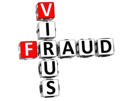 3D Virus Fraud Crossword on white background Stock Photo - 9752773