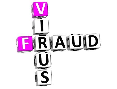 3D Virus Fraud Crossword on white background Stock Photo - 9752763