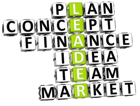 3D Leader Concept Plan Crossword on white background Stock Photo - 9753158