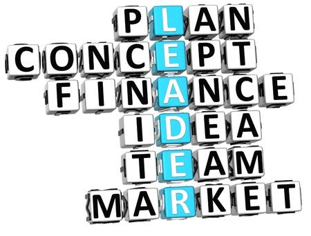 3D Leader Concept Plan Crossword on white background photo