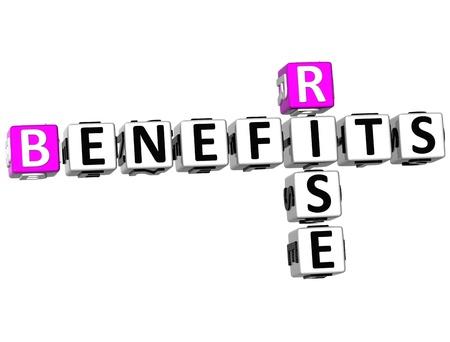 3D Risk Benefits Crossword on white background photo