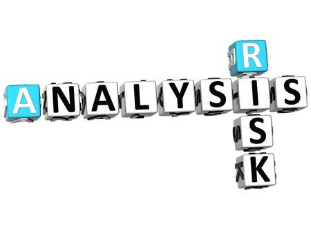 3D Risk Analysis Crossword on white background photo