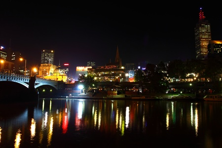 Melbourne City Lights over the Yarra River, Night, Australia photo