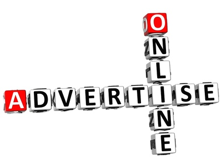 3D Advertise Online Crossword on white background photo
